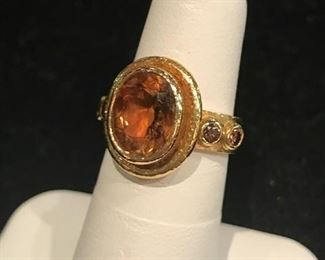 Elizabeth Locke imperial topaz and  chocolate diamond ring