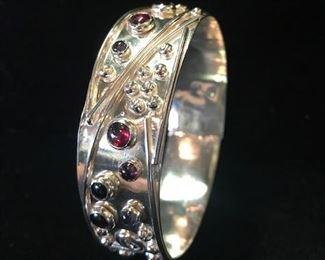 Sterling bracelet with garnets