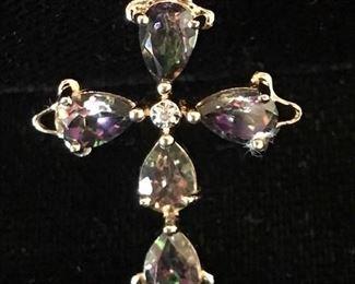 "Synthetic alexandrite and diamond pendant 1 1/4"" long"
