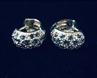 """14kt white gold cuff style pierced earrings 3/8"""" ( tiny cuffs)"""