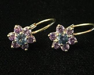 """14kt  pink and blue stone flower pierced earrings. 3/4"""" long"""