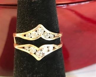 14kt gold and diamond ring guard.