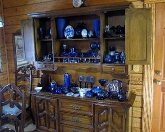 Lots of Cobalt blue glassware and decoratives.