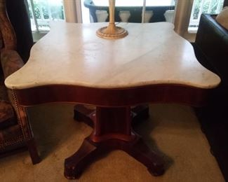 """Marble Top Antique Table - 34"""" x 34"""" x 30 1/4""""                                $"""