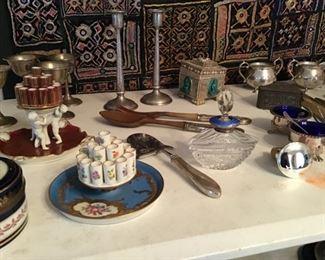 Assorted Glass, Perfume Bottle, Sterling Hammered Candlesticks