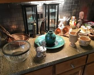 Copper, Glass Cabinets, Pottery
