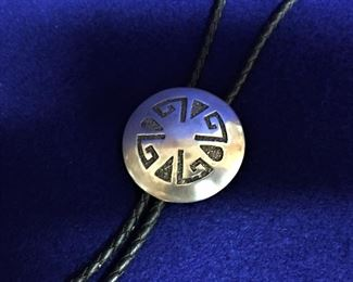 Overlaid silver native American hand made Bolo Tie. Sterling silver.
