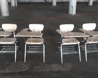 Lot of 4 Metal Chairs w/ Attached Desks