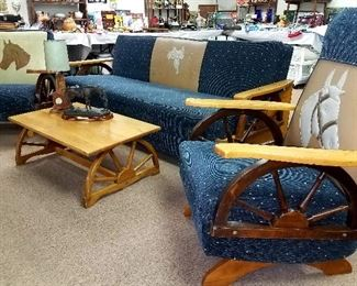 Much, much retro and modern western furniture and decor!! Newly upholstered 1950's western 4 pcs. set