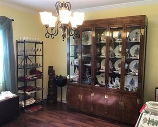 Henredon Lighted China Cabinet, Campaign Series, Mid Century