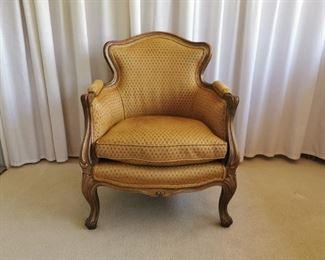 B Altman Interior Louis XV Style Upholstered Bergere/Boudoir barrel back chair.