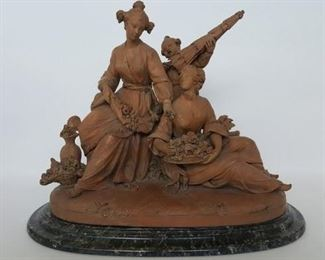French Terracotta Group sculpture, late 18th or early 19th century depicting two seated maidens and a child gathering flowers. Was a part of the Henry J Heinz II collection sold by Sotheby Park Bernet, lot 248 on 3/19/77.
