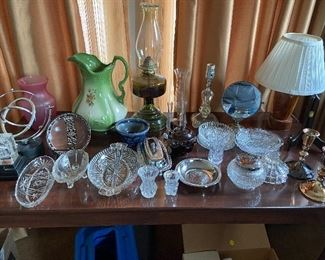 From vintage glass, oil lamp, to handmade lamps