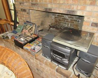 stereo, cds, tapes, records