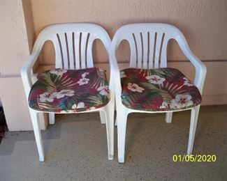 2 - White Plastic Patio Chair(s)