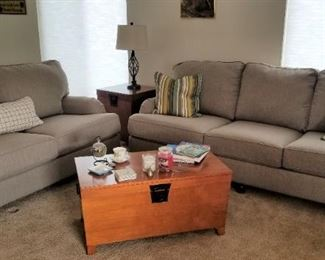 Nice, new living room set: Sofa, Loveseat, Chair and a half, cute metal table lamps, storage coffee table