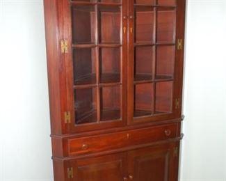 "Lovely antique walnut corner cabinet, 42""W x 86""H x 20""D"