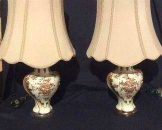 Porcelain de Paris lamps- new silk shades with gold finials. Can find these on EBay store for $600 each-