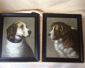 Beautiful antique - I think chalk- pictures. In person, they really make a statement.