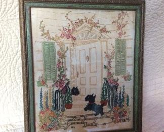So sweet antique needlepoint with frame approx 8x10