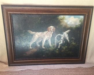 Oil painting of springer hunting dogs