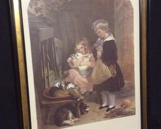 Children and Rabbit lithograph- 1900s