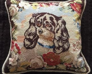 Reproduction needlepoint pillow from England