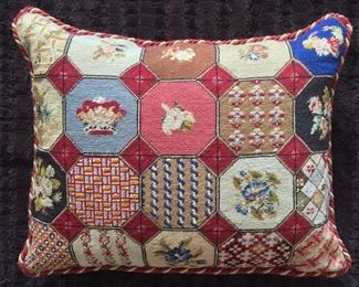 Patchwork needlepoint pillow from England