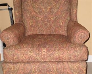 Ethan Allen paisley wing back chair 35d x 30w x 43h Only used in guest room for decoration