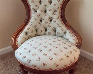 antique slipper chair- rewired and upholstered. Bottom has a skirt that can be removed or added-has been  velcrowed. 30d x 30w x 35 h