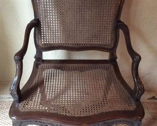 SET of 2.  Reproduction 18th century cane chairs- imported from France 28w x 20d x 39.5h