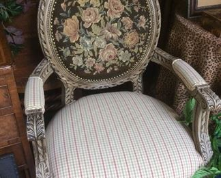 Antique tapestry; reproduction chair 21d x 24w x 40h