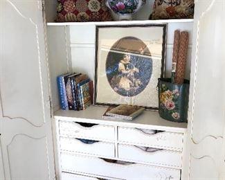 Inside armoire- 2 shelves and back sliding door that opens for tv