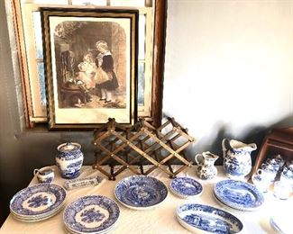 HUGE collection of Spode dishes, and accent pieces. 3 sets, antique Flow blue and white pieces