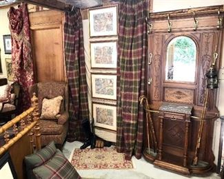 Custom worsted wool window treatments, rods and rings. Antique hall tree imported from France, reproduction maps of England