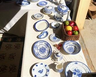 Flow blue and white dishes, Johnson and brothers, serving pieces, cream and sugar...