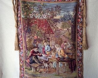 Handmade tapestry from Portugal, approx 4 x5, comes with rod, finials, and tassels...