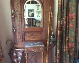 Treasured piece- beveled mirror hall tree imported from France. Has marble top and drawer.  38w x 12d x 80h