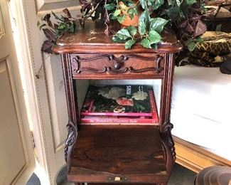 19th century nightstand, has 1 drawer and lid open and closes. Brown marble top- imported from France