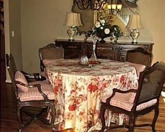 """Custom 54"""" table form and custom Ralph Lauren table skirt. Have 2 French chairs left"""