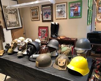 MILITARY HELMETS, GAS MASKS AND MORE