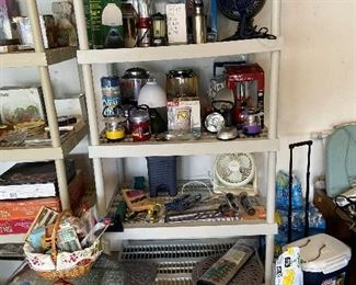 In garage. Many lanterns never used. More kitchen items