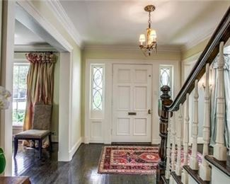 Entry door with side lights, stair rail & moldings