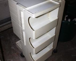 Signed MCM Joe Columbo Boby trolley, as-is.  80s era white ABS plastic turns brown / yellow, needs restoration.