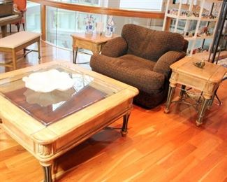 Bernhardt Club Chair Very Nice Coffee Table with Matching End Tables