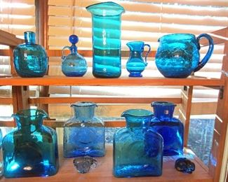 Part of the Blenko glass collection (plus a couple of other art glass pieces)