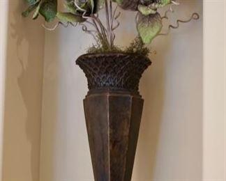 Tall metal green vase $50