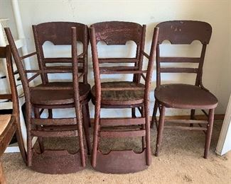 set of 5 antique chairs