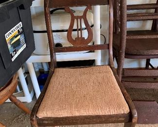 1 Harp back antique chair