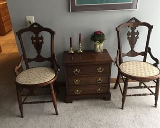 Vintage side Chairs and Chest